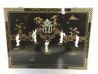 Oriental Chinese Rectangle black lacquer frames wall plaques wall picture gifts