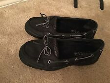 80fdcec9bae SPERRY Top-Sider Angelfish black leather loafers boat Shoes Womens SZ 4.5