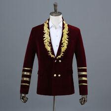Men Panne Velvet Suit Blazer Embroidery Jacket Formal Retro Wedding Costume