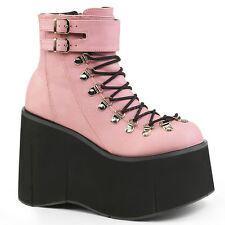 """Demonia 4.5"""" Baby Pink Vegan Monster Platform Laced Ankle Cuff Shoes Boots 6-11"""