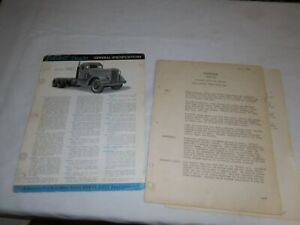 1951 PETERBILT MODEL 390 TRUCK SALES BROCHURE & TYPED PAGES