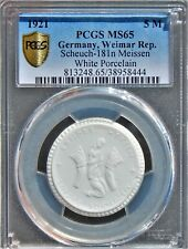 Germany 1921 5 Mark PCGS MS65 Scheuch-181n Meissen White Porcelain Meissen Coin