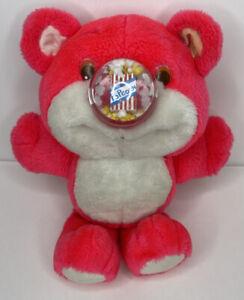 Vintage Playskool Nosy Bear Pink Plush Popcorn Nose 1987 Stuffed Animal Rare