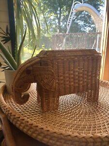 Vintage Wicker Elephant Planter Basket Bohemian MCM.