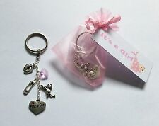 Keyring Baby Shower Girl Pregnancy Gift Mum to be tag favour christening