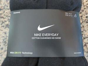 NIKE Everyday 6 Pairs NO SHOW Cotton Blend Socks DRI-FIT Mens 8-12 Women's 10-13