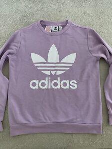 Girls Lilac Purple Adidas Jumper Sweatshirt Age 11-12 Years VGC