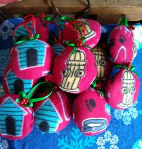 "Pet Lovers Christmas Fleece Hanging 12 pc Ornaments Homemade 5"" Burgundy New"