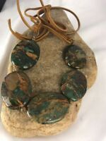 Native American Green Turquoise Sterling Silver Necklace Leather Cords Bracelet