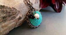 Bronze charm pendant, filigree pave, flower, turquoise, handmade