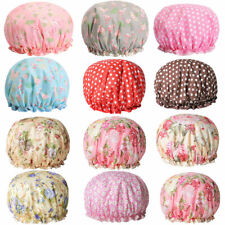 Cy_ Women Double Layer Flower Dot Hair Fast Dryer Cap Spa Shower Bath Wrap Hat C