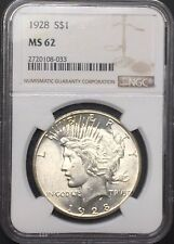 1928 P PEACE SILVER DOLLAR NGC MS62 KEY DATE UNCIRCULATED BU COIN NICE LUSTER