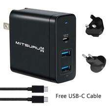 60W USB-C Wall QC 3.0 Fast Charger With 2* USB 2.0 12W Duel Port + UK EU US Plug