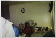 Vintage PHOTO happy woman in a dining area