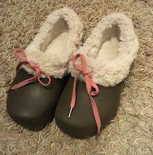 Crocs Gretel Faux Fur Clog size J1   AS NEW !