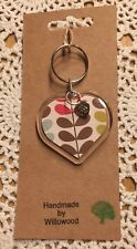 Orla Kiely Beautiful 'Heart' Shaped Keyring ~ With Charm ~ Handmade