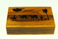 ! Antique Olive Wood Humidor Trinket Box Souvenir of CYPRUS, Made in Jerusalem