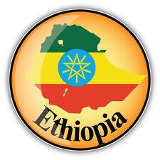 Ethiopia Map Flag Label Car Bumper Sticker Decal 5'' x 5''
