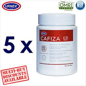 5 x Urnex CAFIZA E31 100 Cleaning Tablets Espresso Machine Cleaner Organic