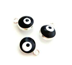 20 Black Silver Enamel Evil Eye ICU Puffed Round Bead Drop 9x7mm Charms