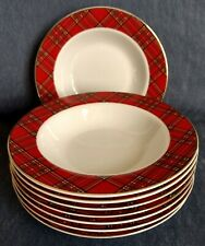 "Pacific Rim ~ Set of 8 ~ 8½"" RIM SOUP BOWLS ~ Porcelain ~ Red Plaid ~ Gold Trim"