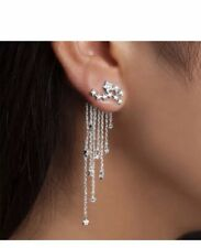 925 Sterling Silver Plated  Cz  Women Chandeliers Chain Earrings New