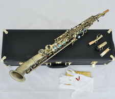 Professional Antique Soprano Saxello saxophone curved bell With Abalone High F#G