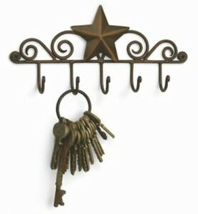 Country Farmhouse Rustic Metal Star Key Ring Holder Aged Copper