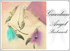 ~1x GUARDIAN ANGEL CHARMS BOOKMARK~Gemstone~Pewter~Feather~Purely Therapeutic