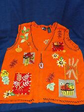 Nice! Women's Large HALLOWEEN AUTUMN LEAVES Orange SWEATER VEST w/Zipper front