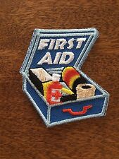 First Aid Fun Patch Girl Scout Boy Scout Iron On Sew On Blue White Red Safety