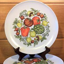 """Vtg MELAMINE Dinner PLATE Lot: 6 VEGETABLE Design White Retro 9-1/8"""" Melmac SET"""