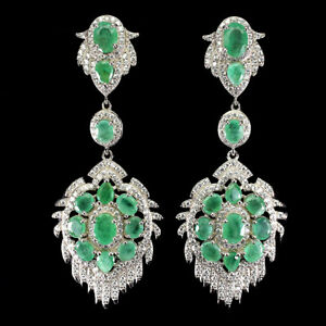 Natural Unheated Oval Cut Green Emerald 7x5 Mm White Cz 925 Silver Long Earrings