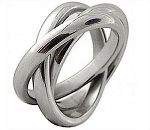 TRIPLE BAND RUSSIAN WEDDING RING HIGH POLISH STAINLESS STEEL