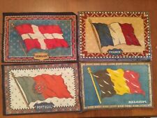 4 Antique Felt Tobacco Cigarette Cigar Flags France Denmark Belgium Portugal