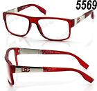 New DG Eyewear Clear Lens Frame Glasses Fashion Womens Designer Square Nerd Red