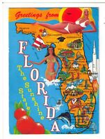 Postcard: Illustrated Map - Greetings from Florida - The Sunshine State