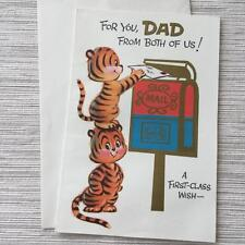 Vintage Fathers Day Card Cute Tigers Mailbox Letters Postal Theme by Norcross
