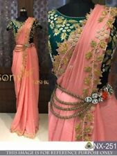 Bollywood Designer Party Wear Peach Color Thread work Chanderi silk Fabric Saree