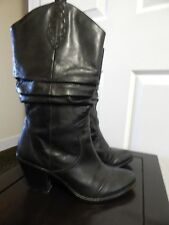 BCBGeneration Black Leather Slouch Cowboy Boot 7 M