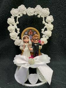Funny Disney Carl and Ellie Pixar UP Wedding Cake Topper Sketchbook Groom top