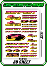 RC STICKERS MODEL CAR SERPENT RACING BRUSHLESS F1 1/10 DRIFT 1/8 BUGGY YEL PNK B