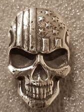 2 oz .999 Silver hand poured Skull art bar memento mori Punisher stars n stripes