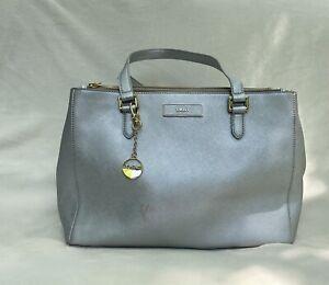 DKNY Womens Tote Bag Silver Zipper Dual Handle Key Clip Full Zipper One Size
