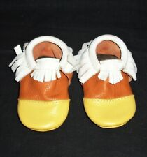 Freshly Picked Toddler Girls Size 6 Candy Corn Moccasin Mini Sole Halloween