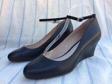 Shoes Of Prey Black Leather Wedge Heel Pump Ankle Strap EU 42.5 US 11 NIB