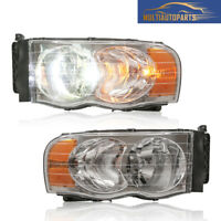 1 Pair Headlight Assembly for 2003-2005 Dodge Ram 1500 2500 3500 Clear Lens