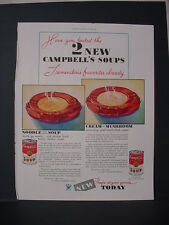 1934 Campbell's Soup Noodle Chicken + Cream of Mushroom Vintage Print Ad 238