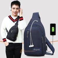 Waterproof Men's Shoulder Sling Chest Bag Backpack Hiking Bag +USB Charging Port