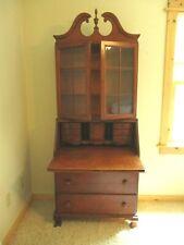 "Antique Secretary Desk Glass Front Book Shelf 3 Dovetail Drawers 79"" x 31"" x 16"""